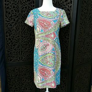 Talbots Silk Paisley Dress Turquoise, Coral, Green